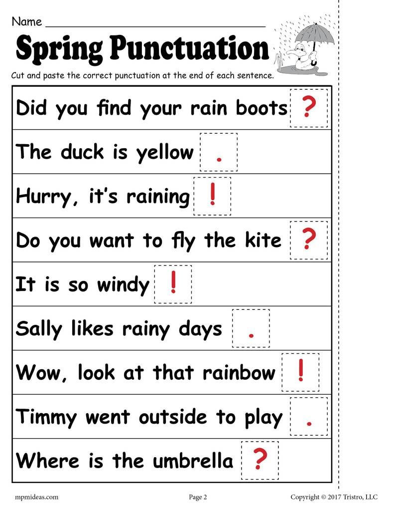 Editing Worksheets 2nd Grade Printable Spring Punctuation Worksheet