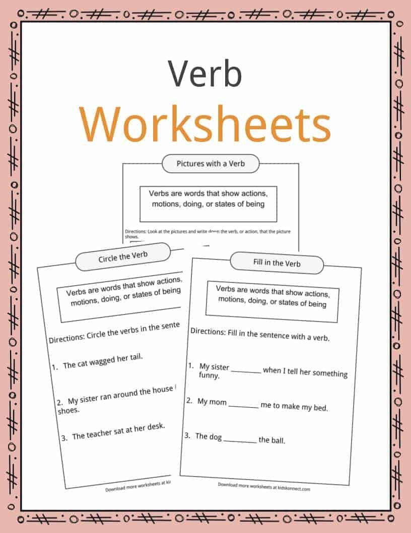 Editing Worksheets 2nd Grade Verbs Definition Worksheets & Examples In Text for Kids