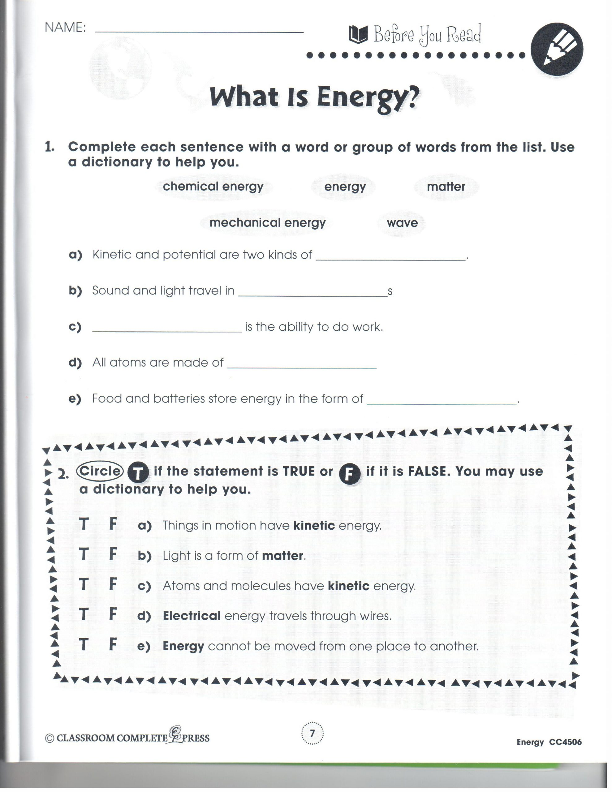 Eighth Grade Science Worksheets 4th Grade Science Worksheets Animal