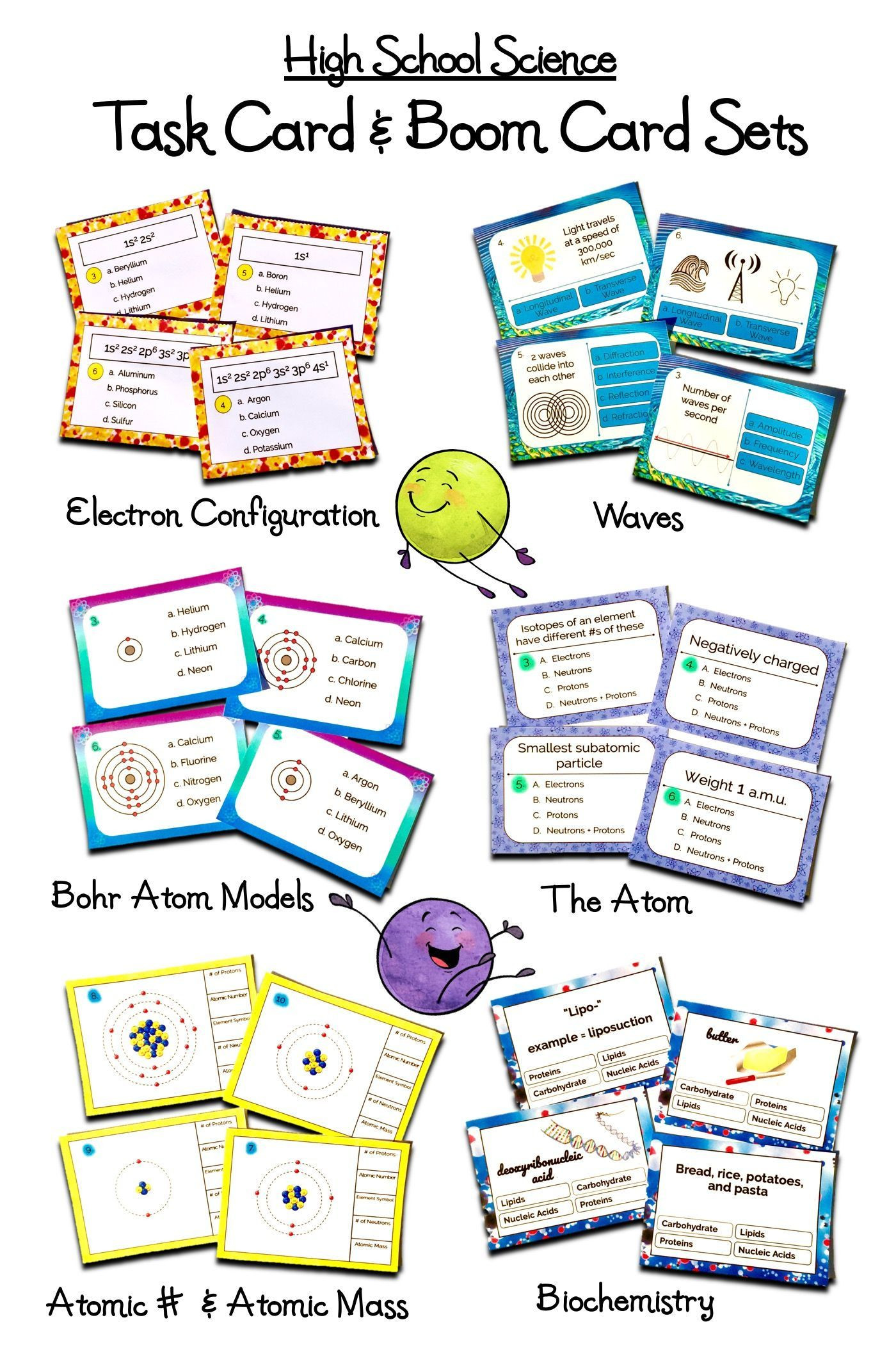 Eighth Grade Science Worksheets High School Science Task Card & Line Boom Card Activity