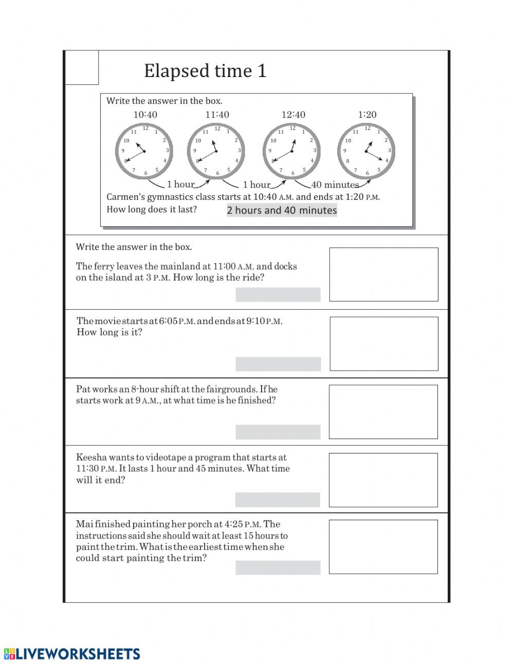 Elapsed Time 3rd Grade Worksheets Elapsed Time1 Interactive Worksheet