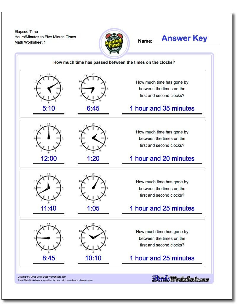 Elapsed Time 3rd Grade Worksheets Printable Elapsed Time Worksheets Starting with Five Minute