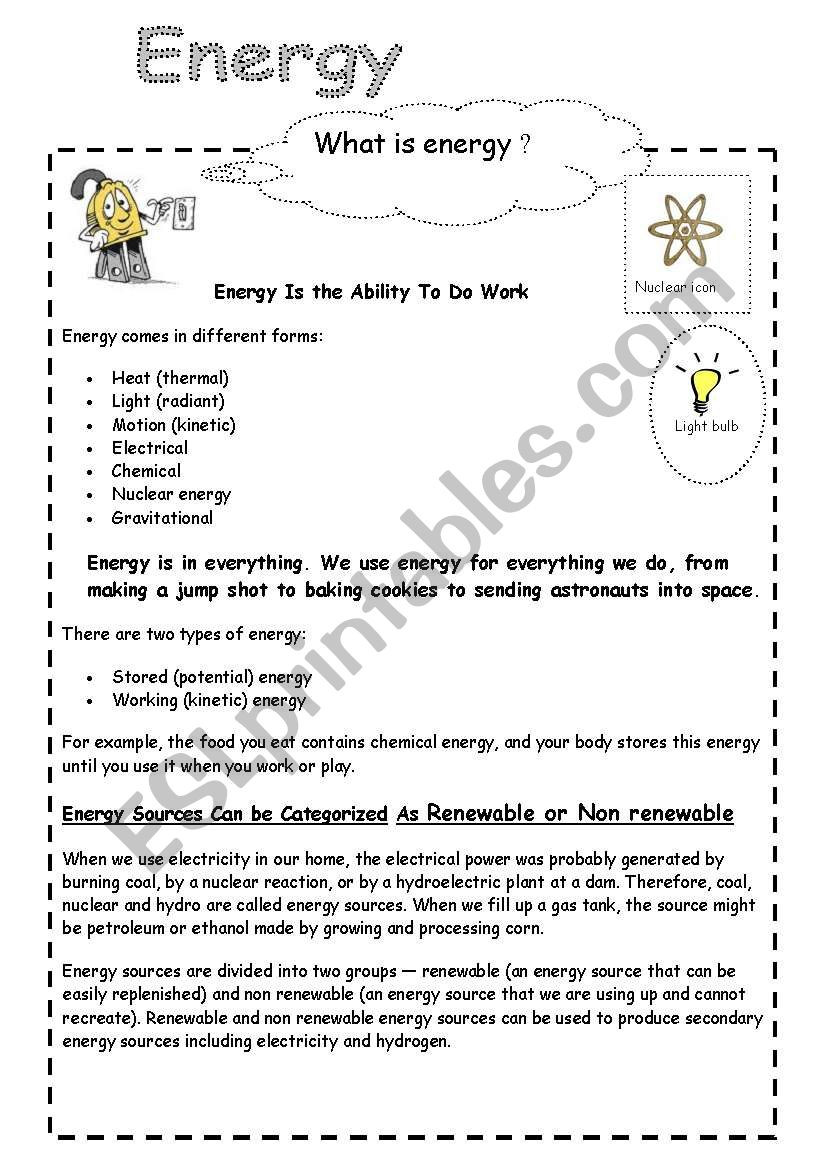 Energy 4th Grade Worksheets Energy and Electricity Esl Worksheet by Cornelianes