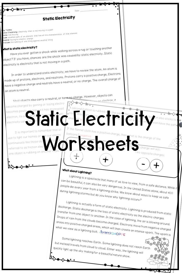 Energy 4th Grade Worksheets Static Electricity Reading Activity