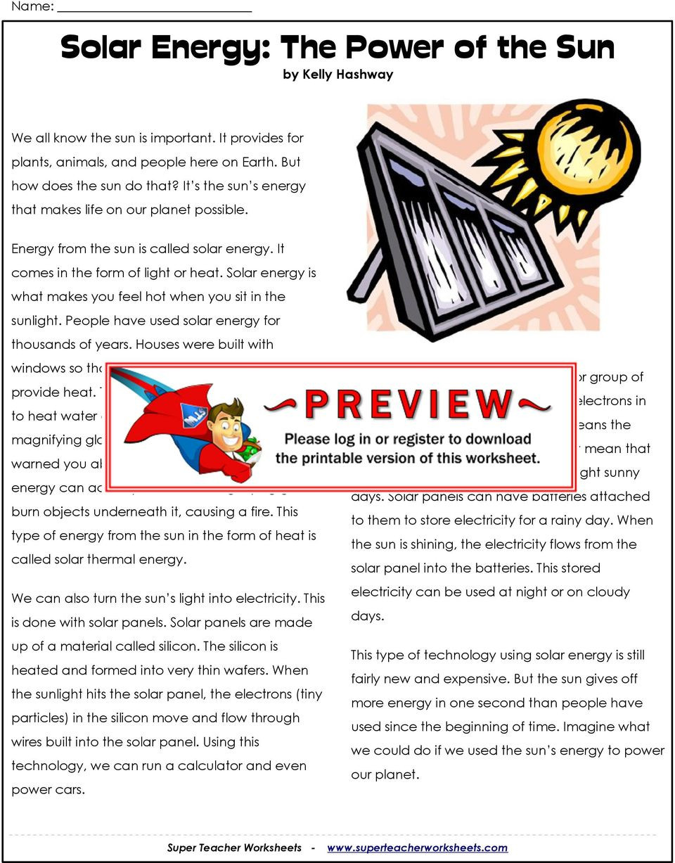 Energy Worksheets for 4th Grade solar Energy the Sun by Kelly Hashway Pdf Free Worksheets