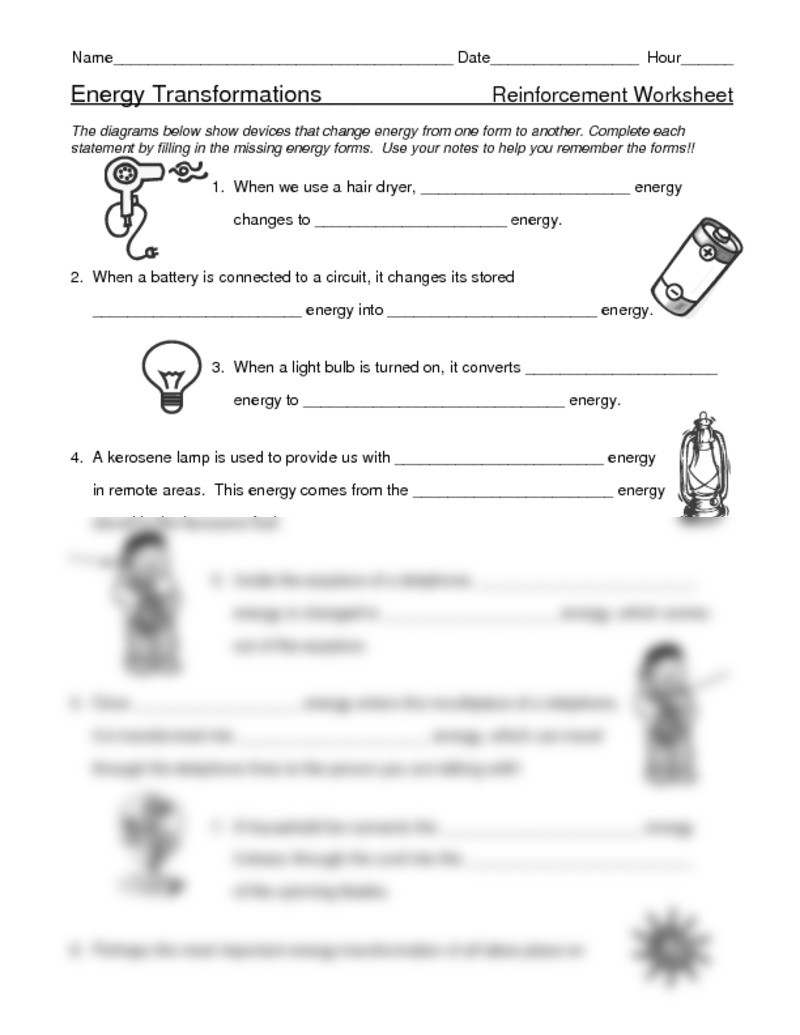 Energy Worksheets Middle School Pdf Electrical Energy Worksheet Doc