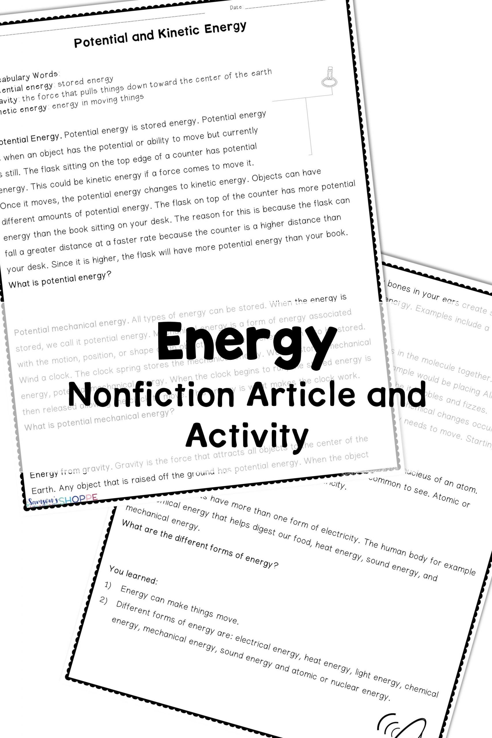 Energy Worksheets Middle School Pdf Energy