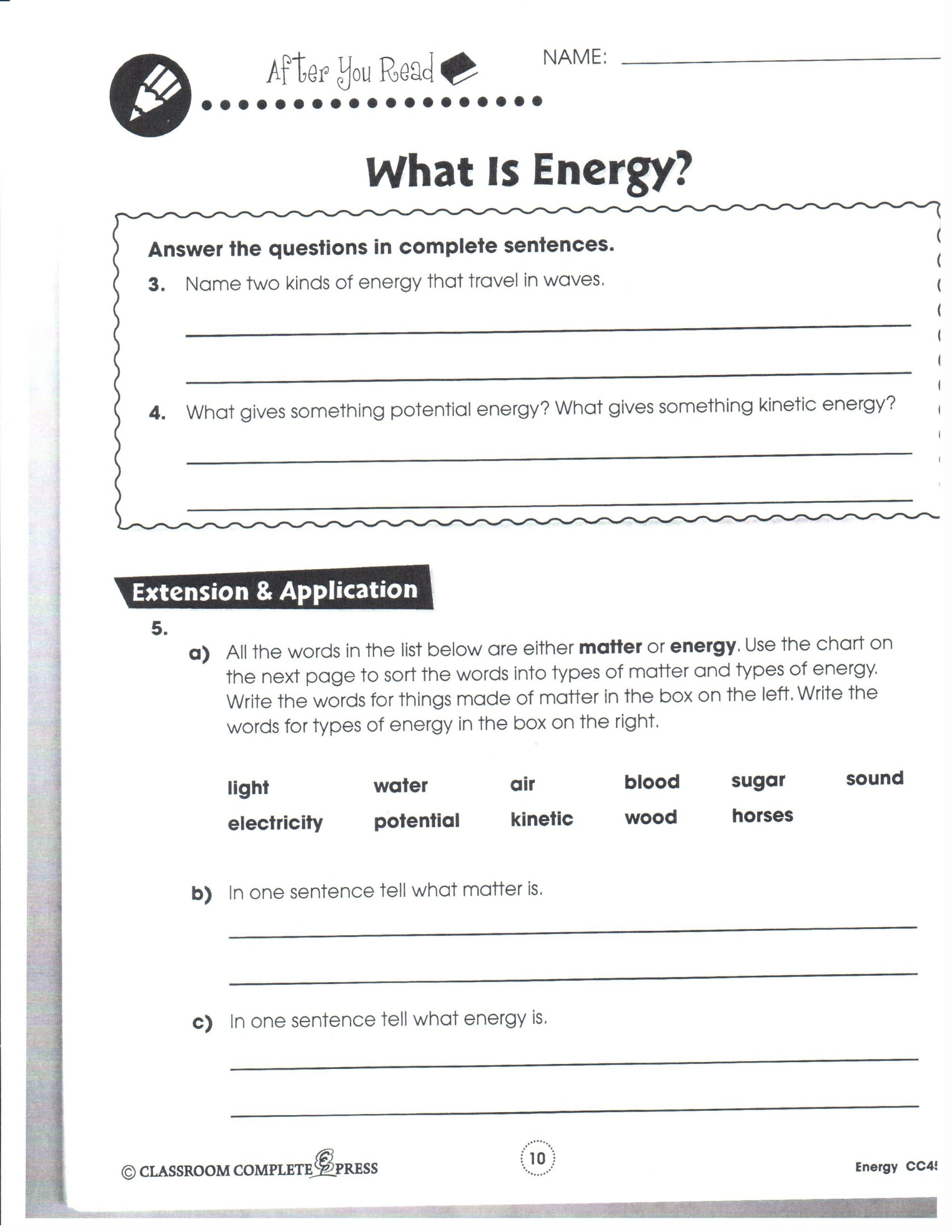 Energy Worksheets Middle School Pdf Potential and Kinetic Energy Activities Middle School