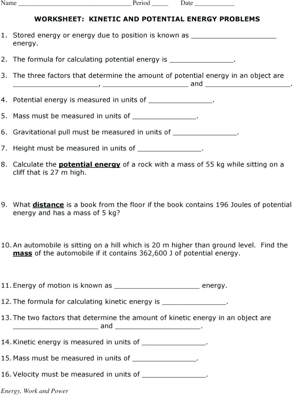 Energy Worksheets Middle School Pdf Potential and Kinetic Energy Worksheet Nidecmege