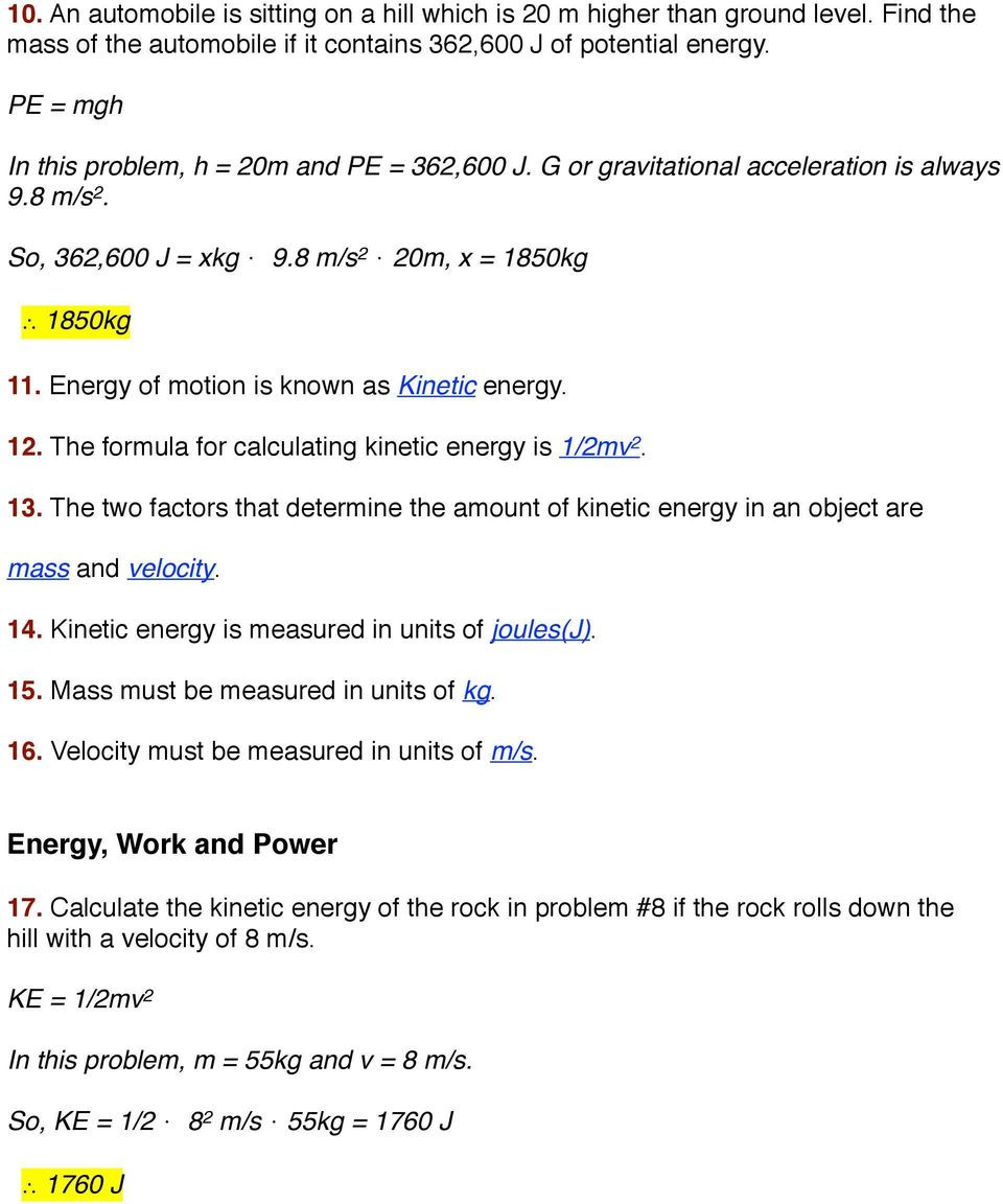 Energy Worksheets Middle School Pdf Worksheet Kinetic and Potential Energy Problems Pdf Free