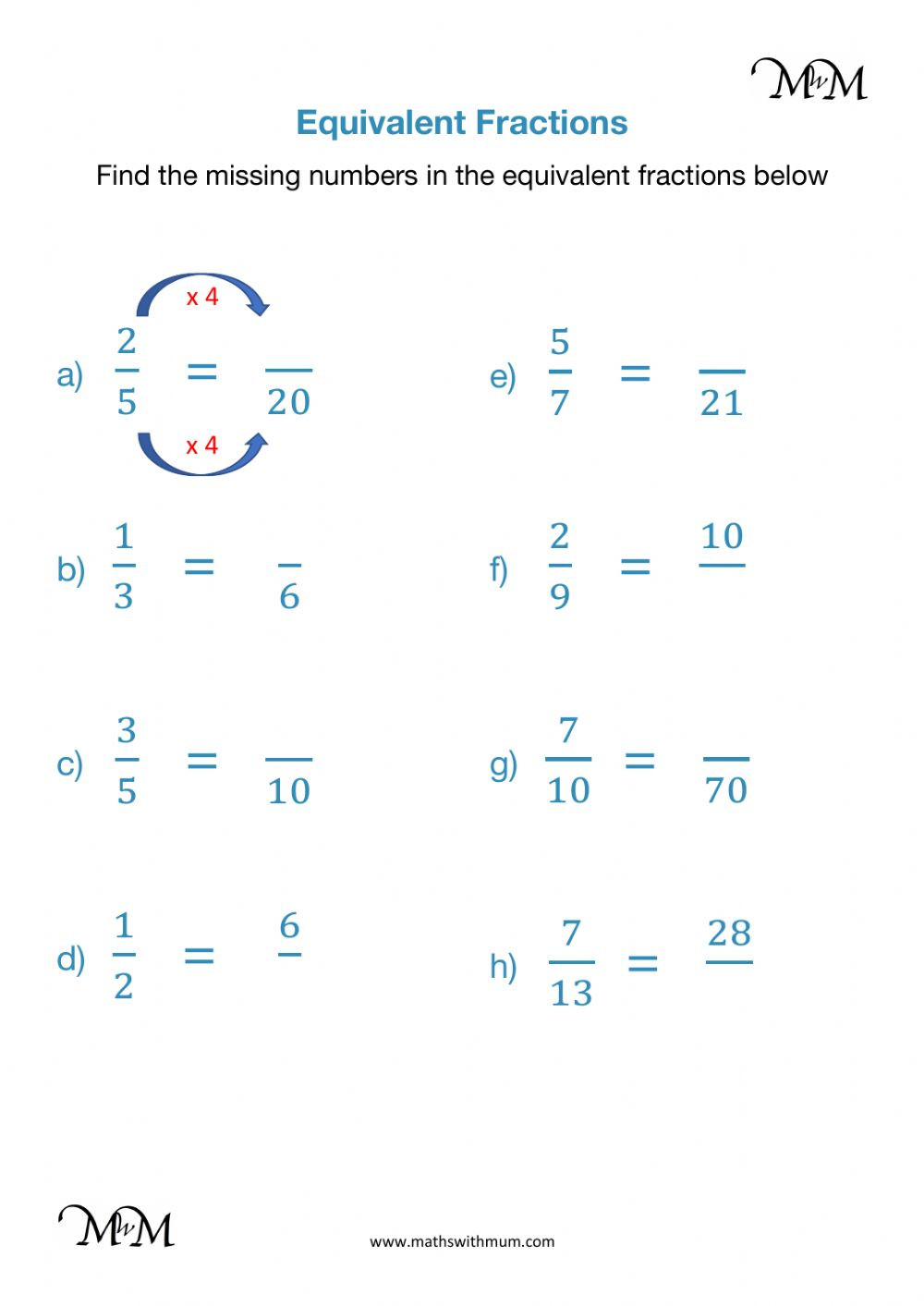 Equivalent Fraction Worksheets 5th Grade Equivalent Fractions Interactive Worksheet