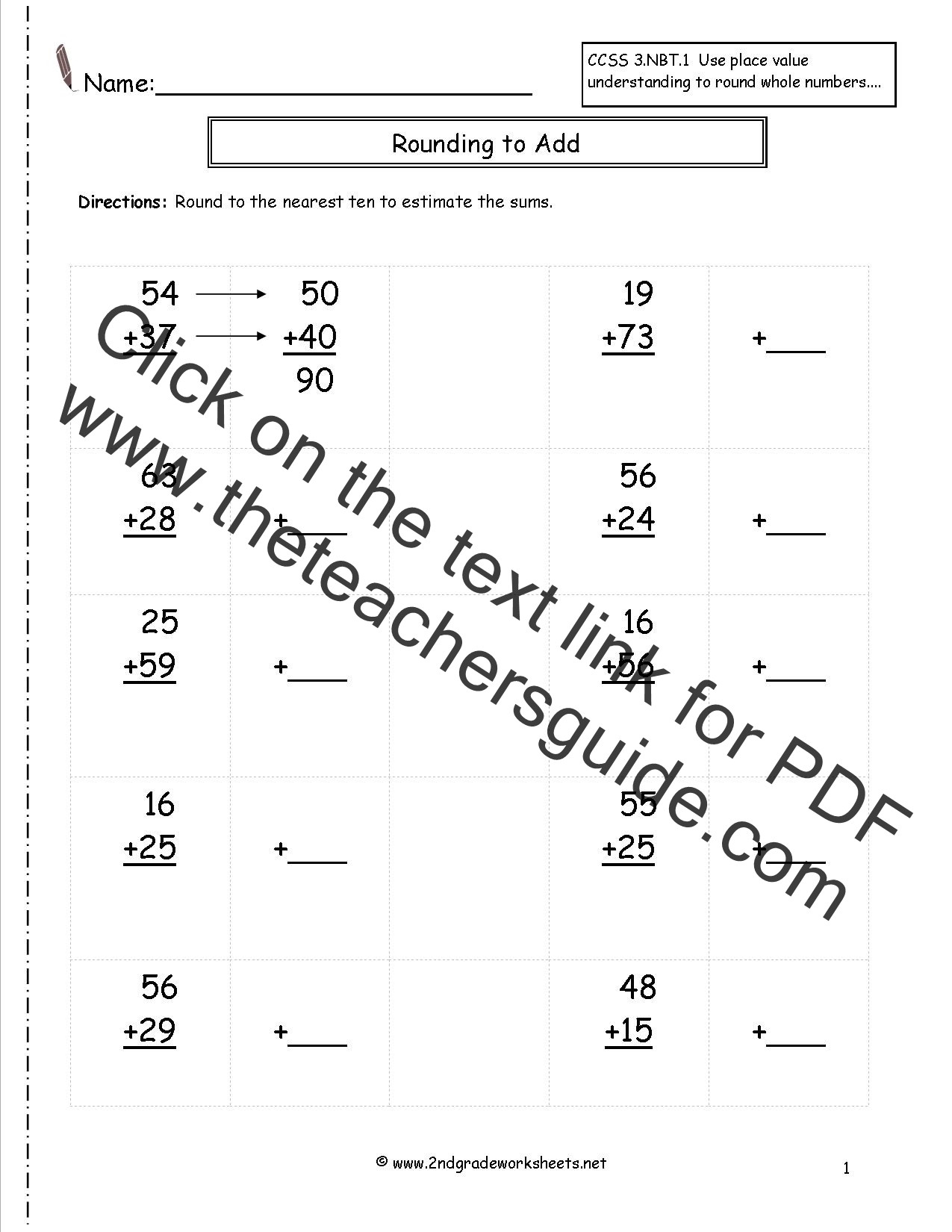 Estimating Sums Worksheets 3rd Grade Estimate Worksheet