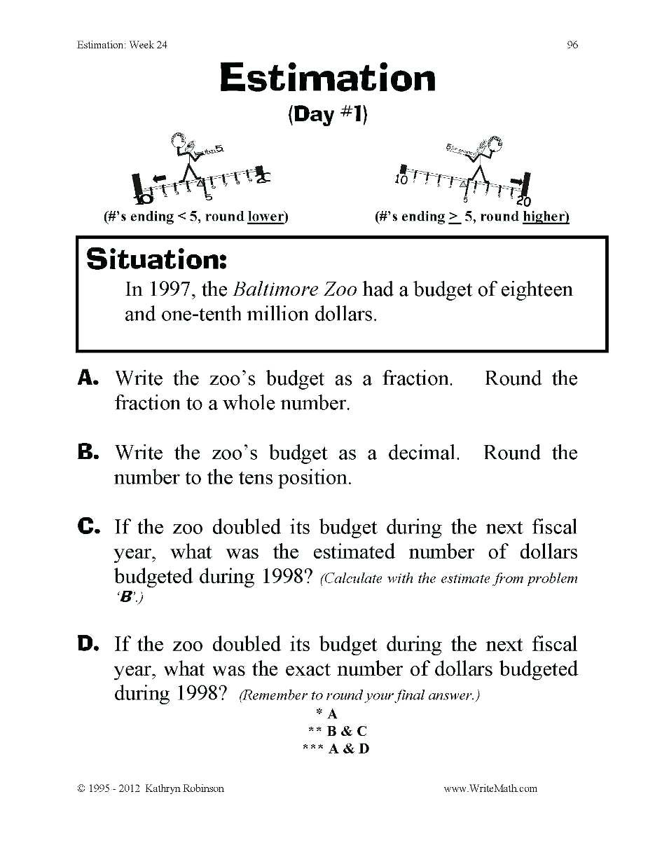 Estimation Worksheet 3rd Grade Rounding Worksheets 4th Grade Rounding whole Numbers