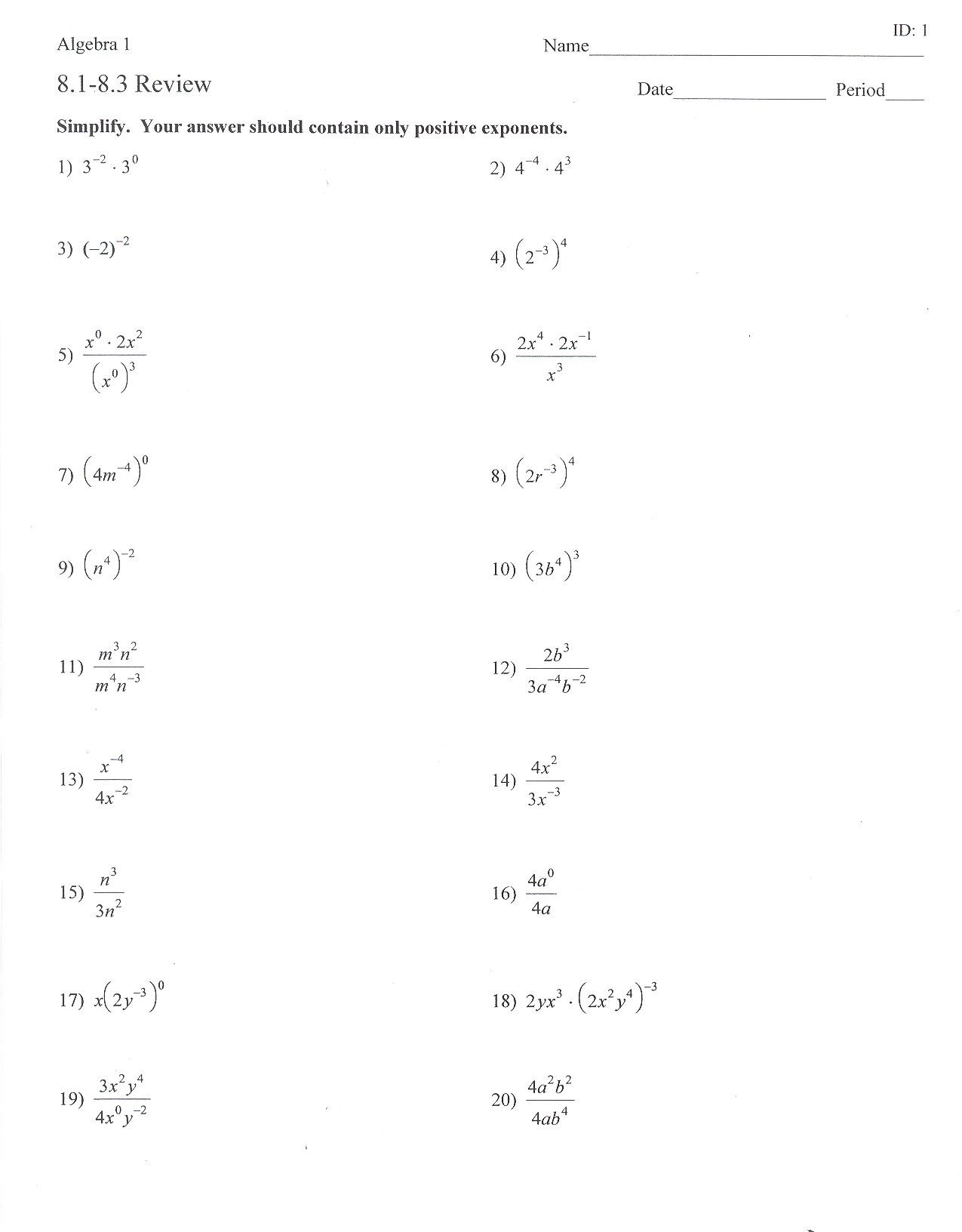 Exponents Worksheets 6th Grade Pdf Exponent Worksheets for 6th Grade