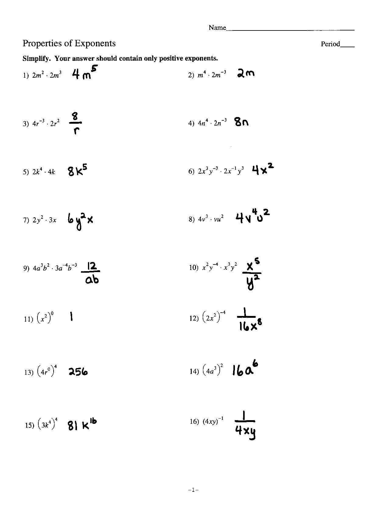 Exponents Worksheets 6th Grade Pdf Exponents Algebra 1 Worksheets
