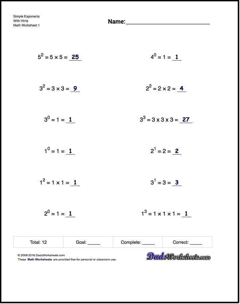 Exponents Worksheets 6th Grade Pdf Exponents Worksheets Simple Exponents and Powers Of Ten
