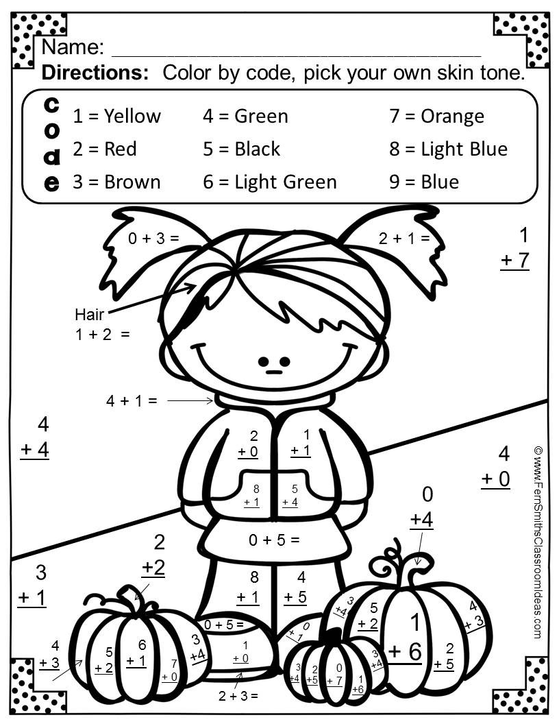Fall Math Worksheets 2nd Grade Coloring Book Math Coloring Pages Color by Number Addition