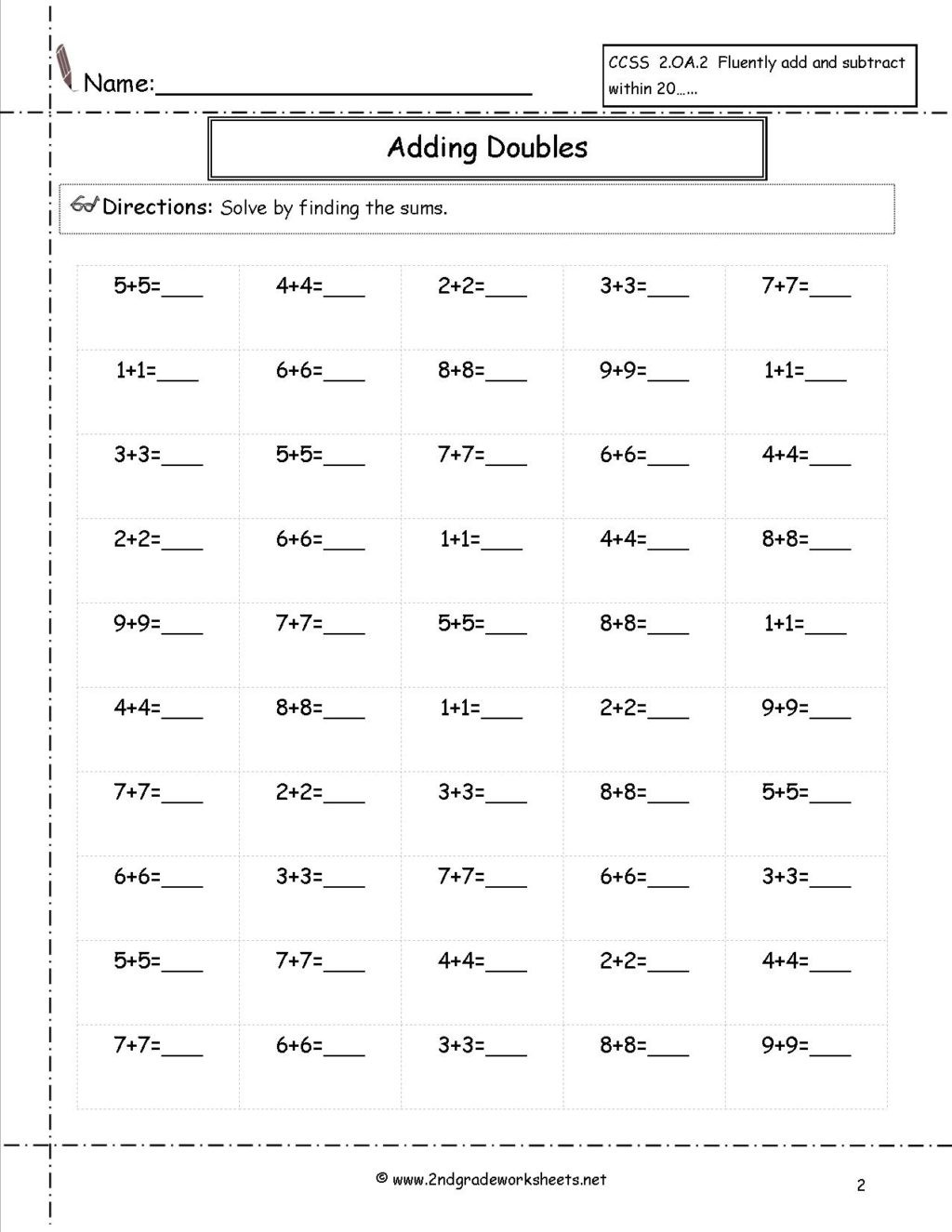 Fifth Grade social Studies Worksheets Worksheet Doubles50 Free Printable Math Sheets for 5th
