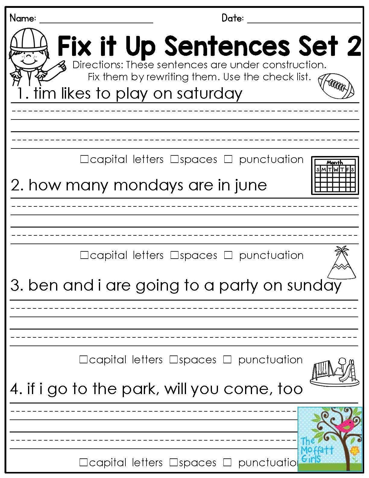 First Grade Capitalization Worksheets 1st Grade Language Arts Worksheets Education Fun Kids