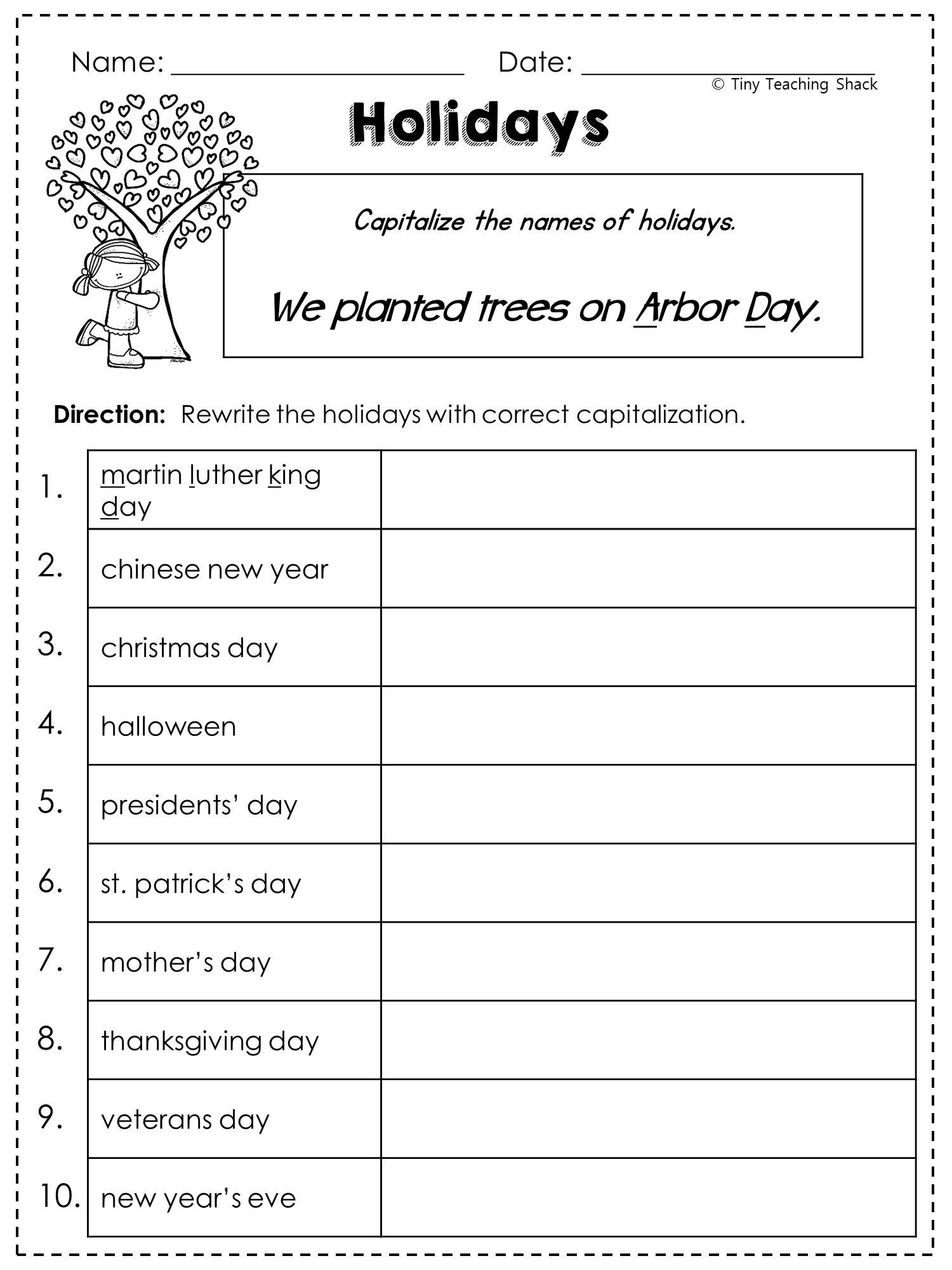 First Grade Capitalization Worksheets 2nd Grade Language Arts and Grammar Practice Sheets Freebie