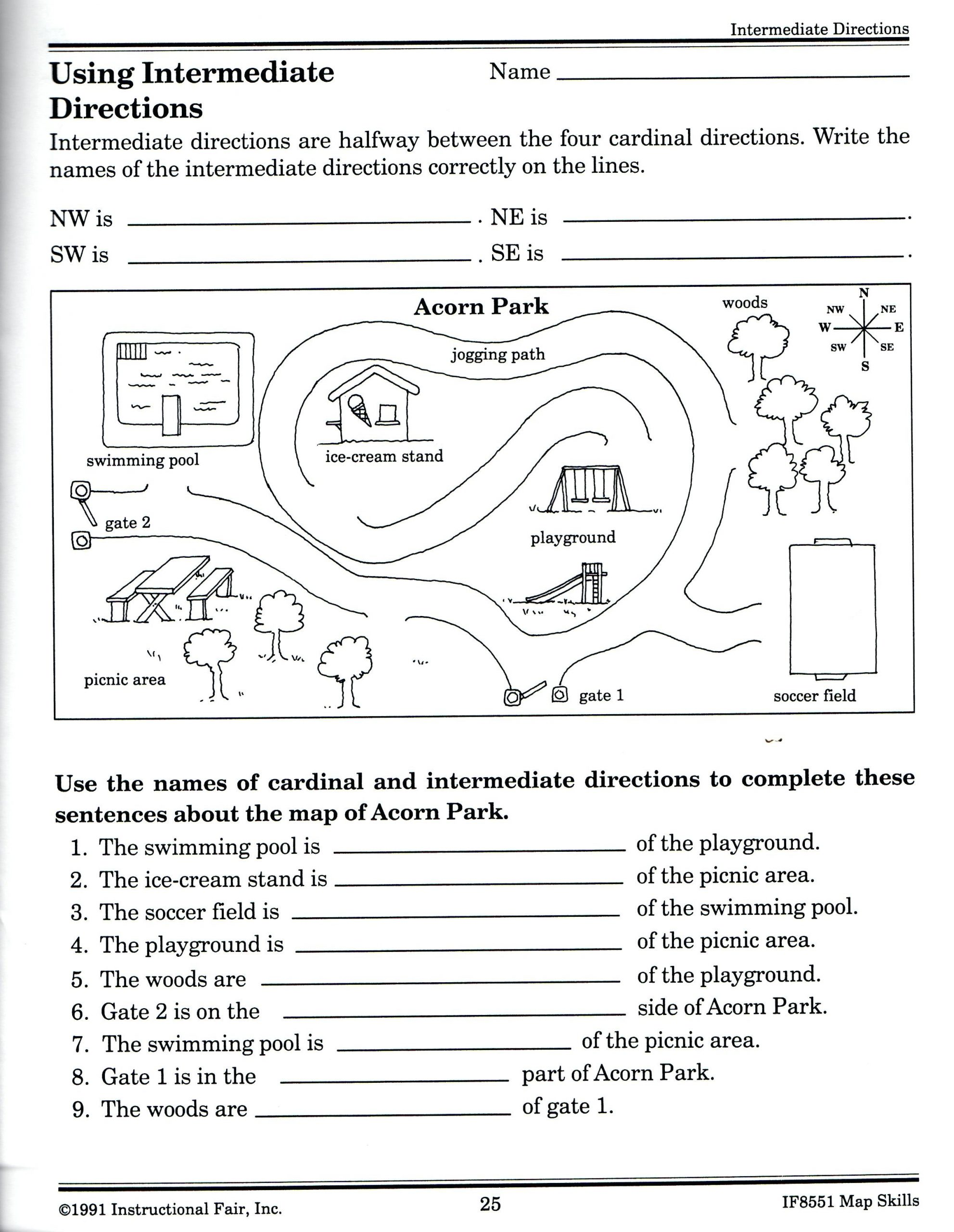 First Grade Map Skills Worksheets Equator Map Skills Worksheets