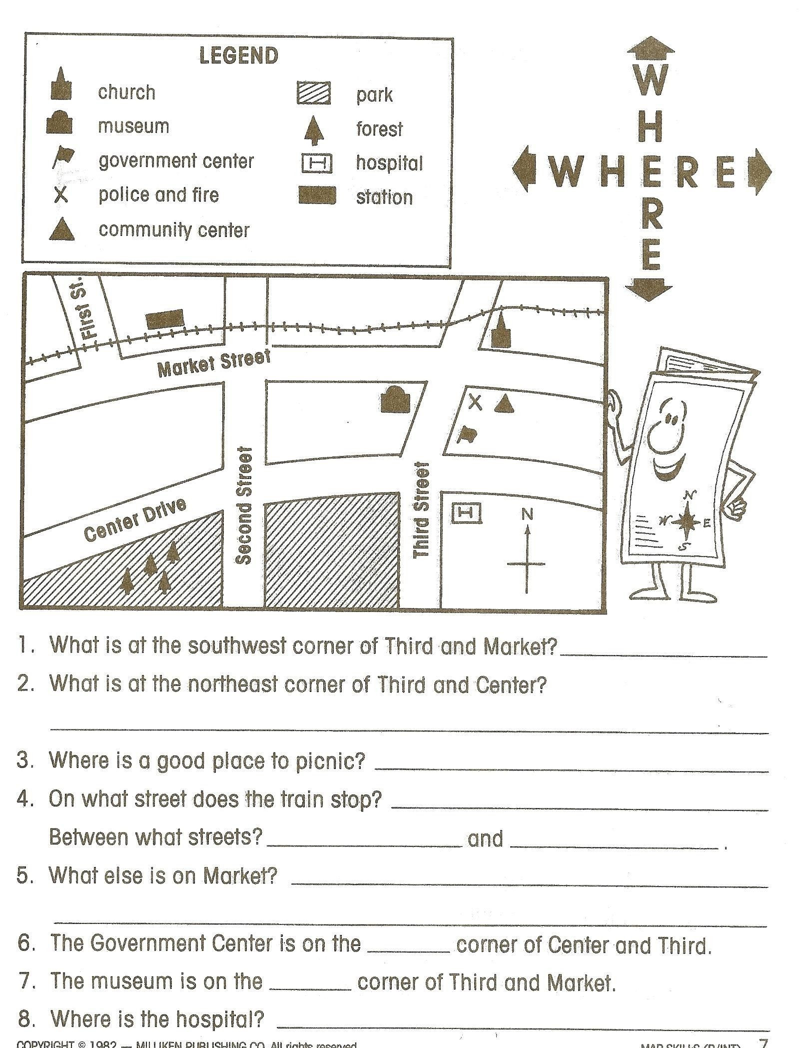 First Grade Map Skills Worksheets Map Reading Worksheets Grade 1 Best