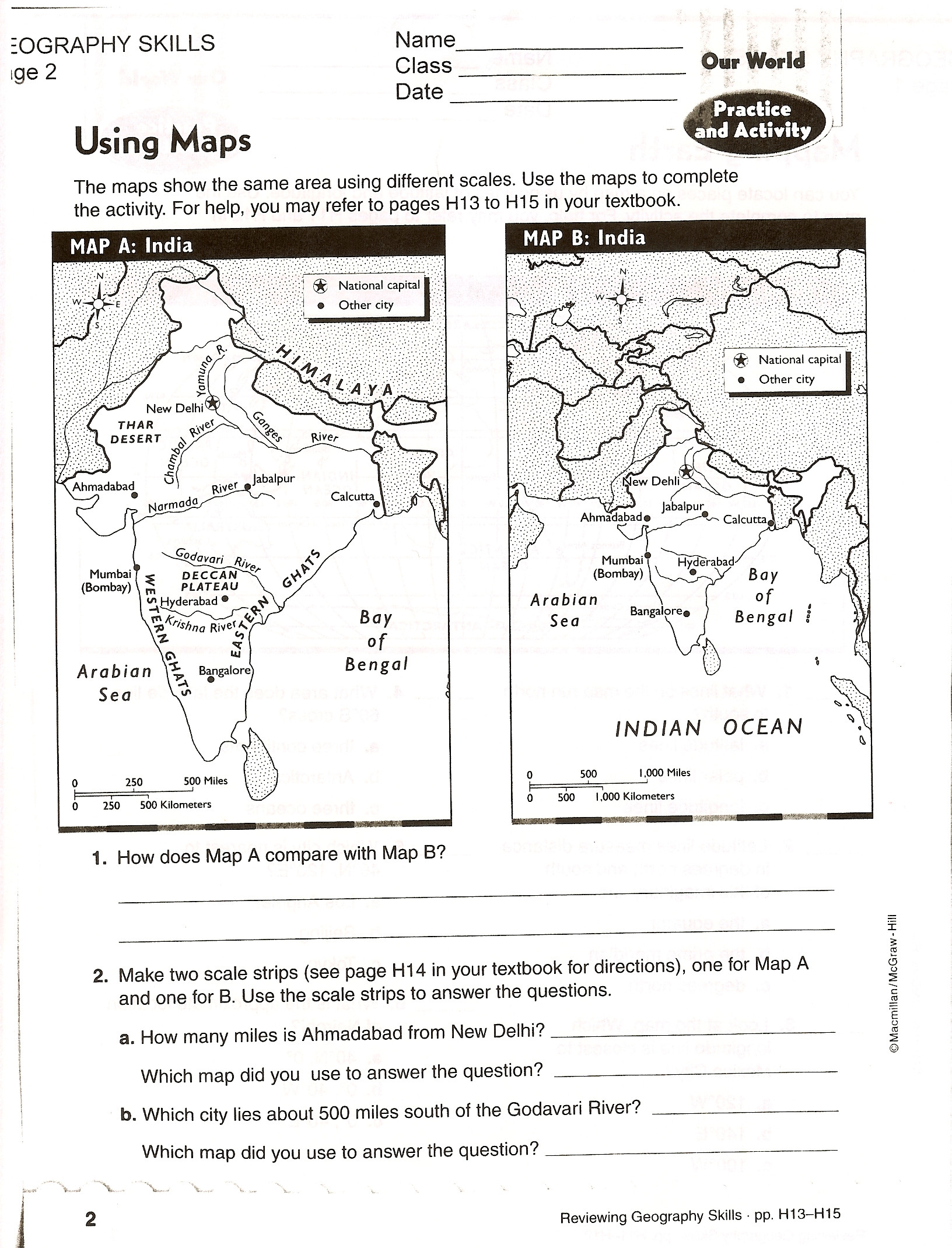 First Grade Map Skills Worksheets Using Map Scale Worksheet