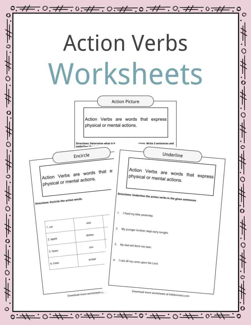 First Grade Sentence Worksheets Action Verbs Worksheets Examples Sentences & Definition