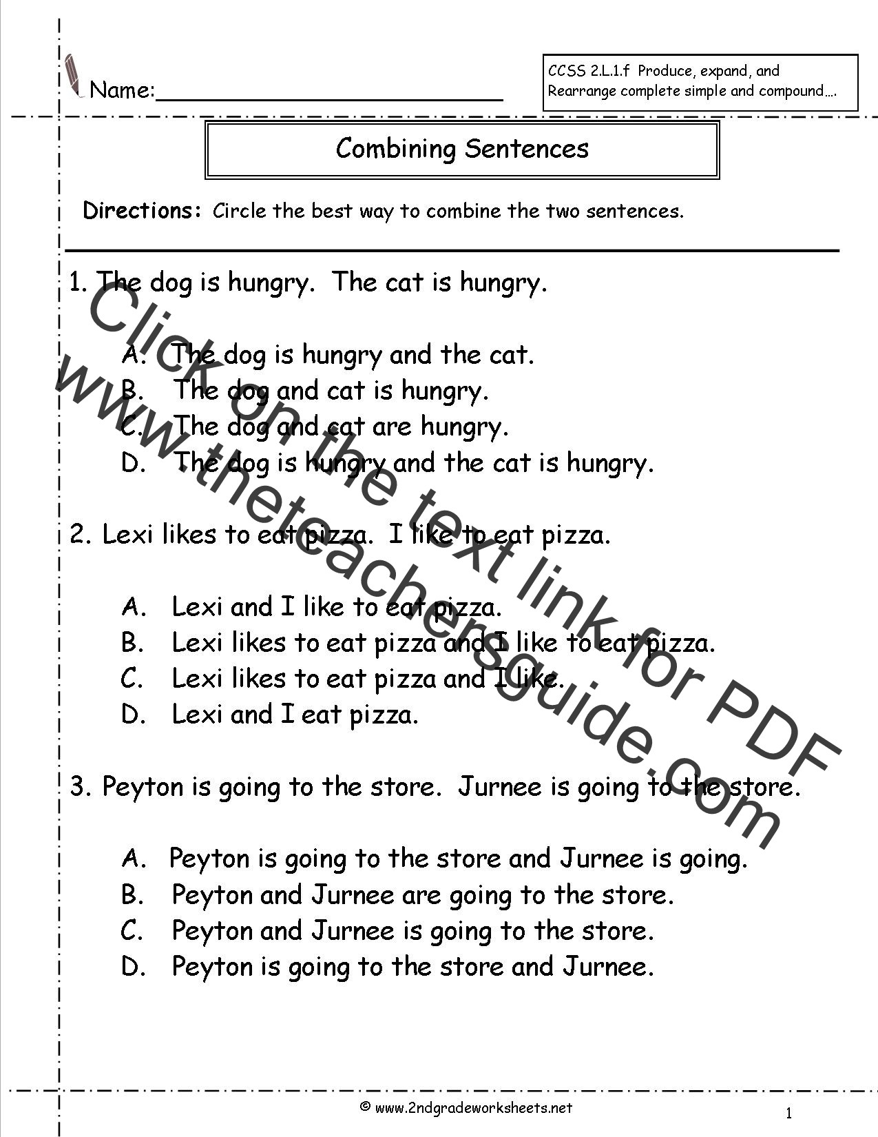 First Grade Sentence Worksheets Joining Words Worksheet for Grade 2