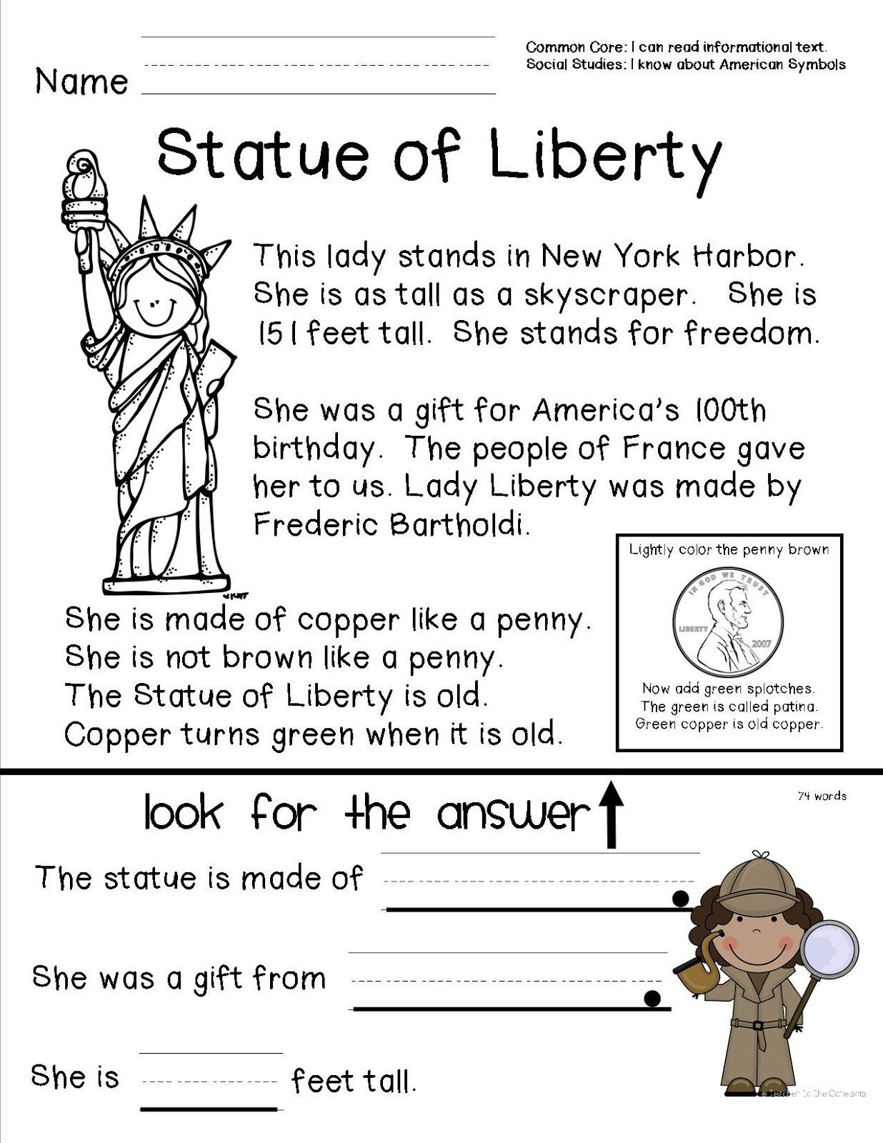 First Grade social Studies Worksheets American Symbols