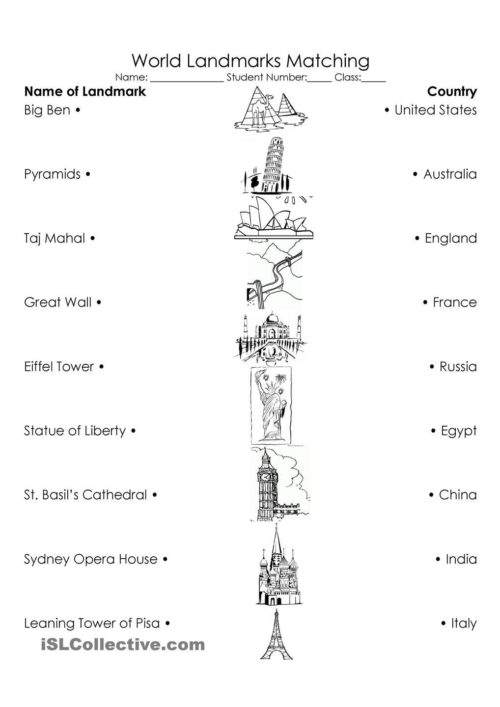 First Grade social Studies Worksheets World Landmarks Triple Match