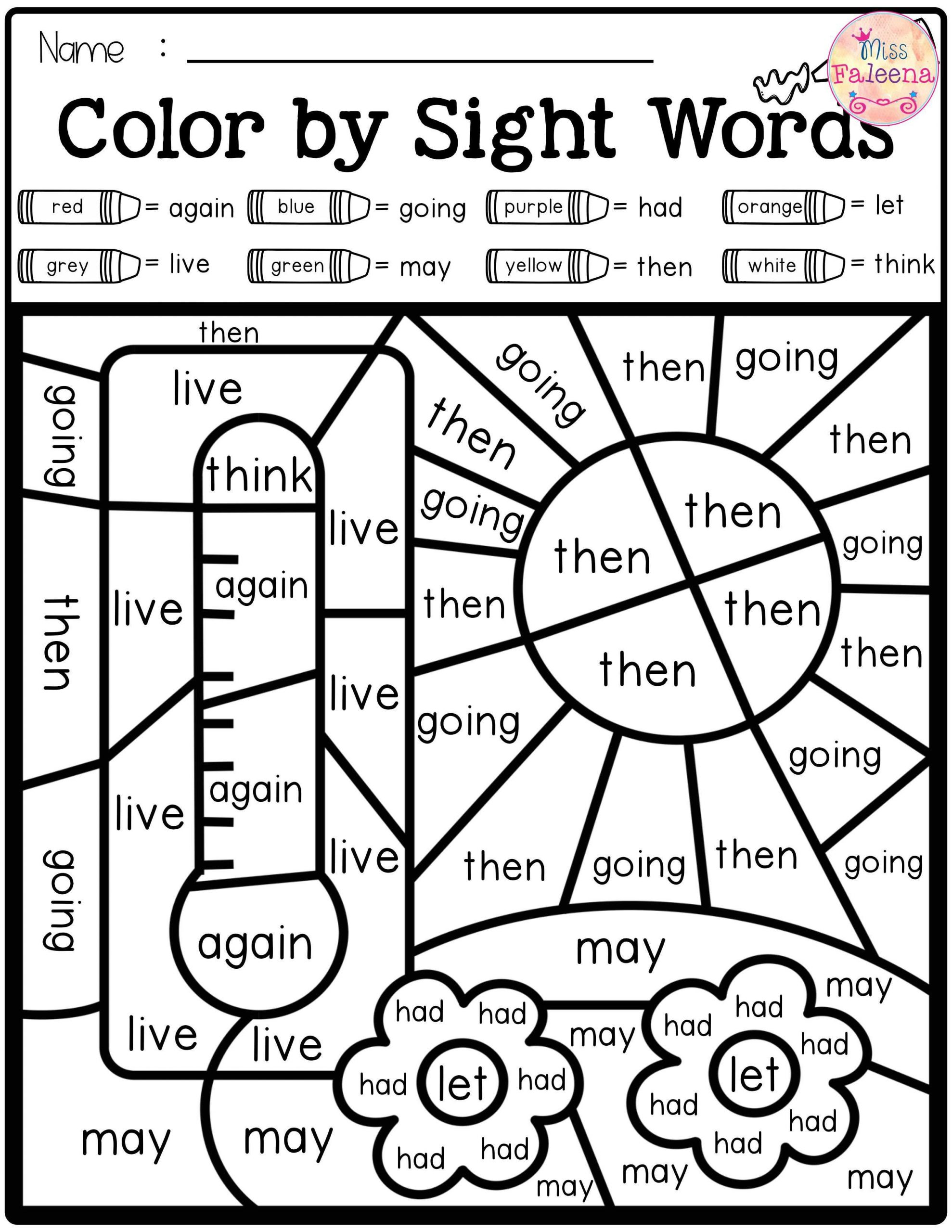 First Grade Vocabulary Worksheets Summer Color by Code Sight Words First Grade