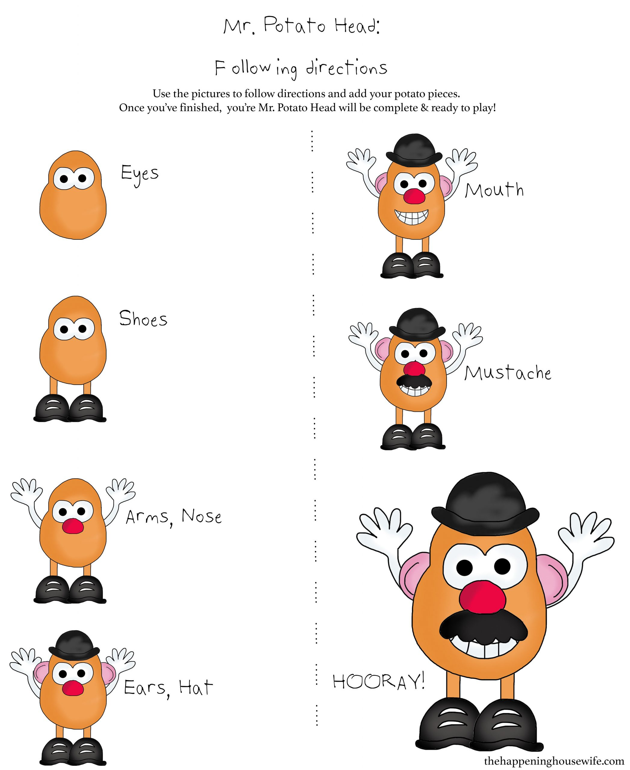 Following Directions Printables Potato Head Following Directions Worksheet