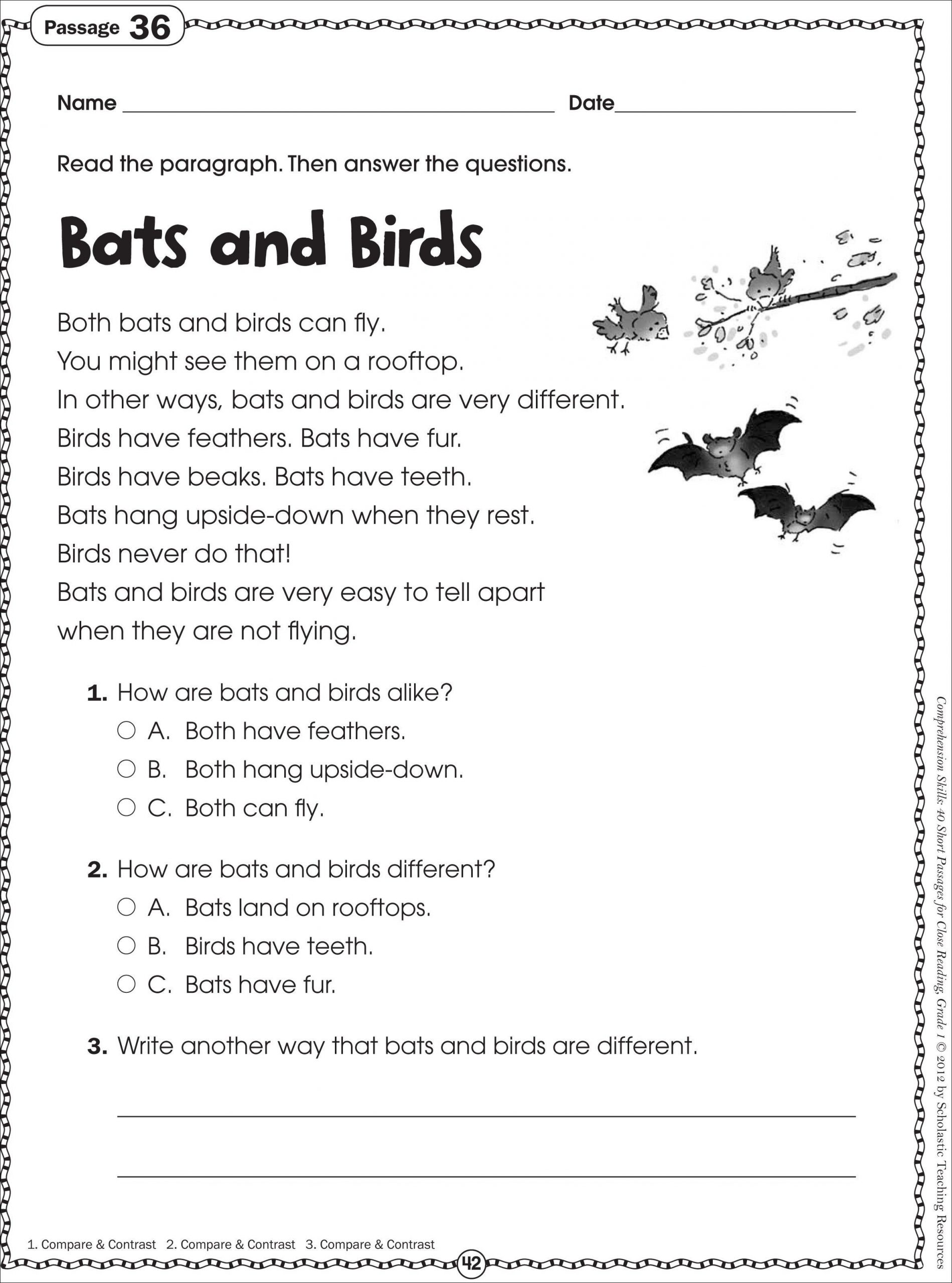 Free 2nd Grade Comprehension Worksheets Free Printable Reading Prehension Worksheets for