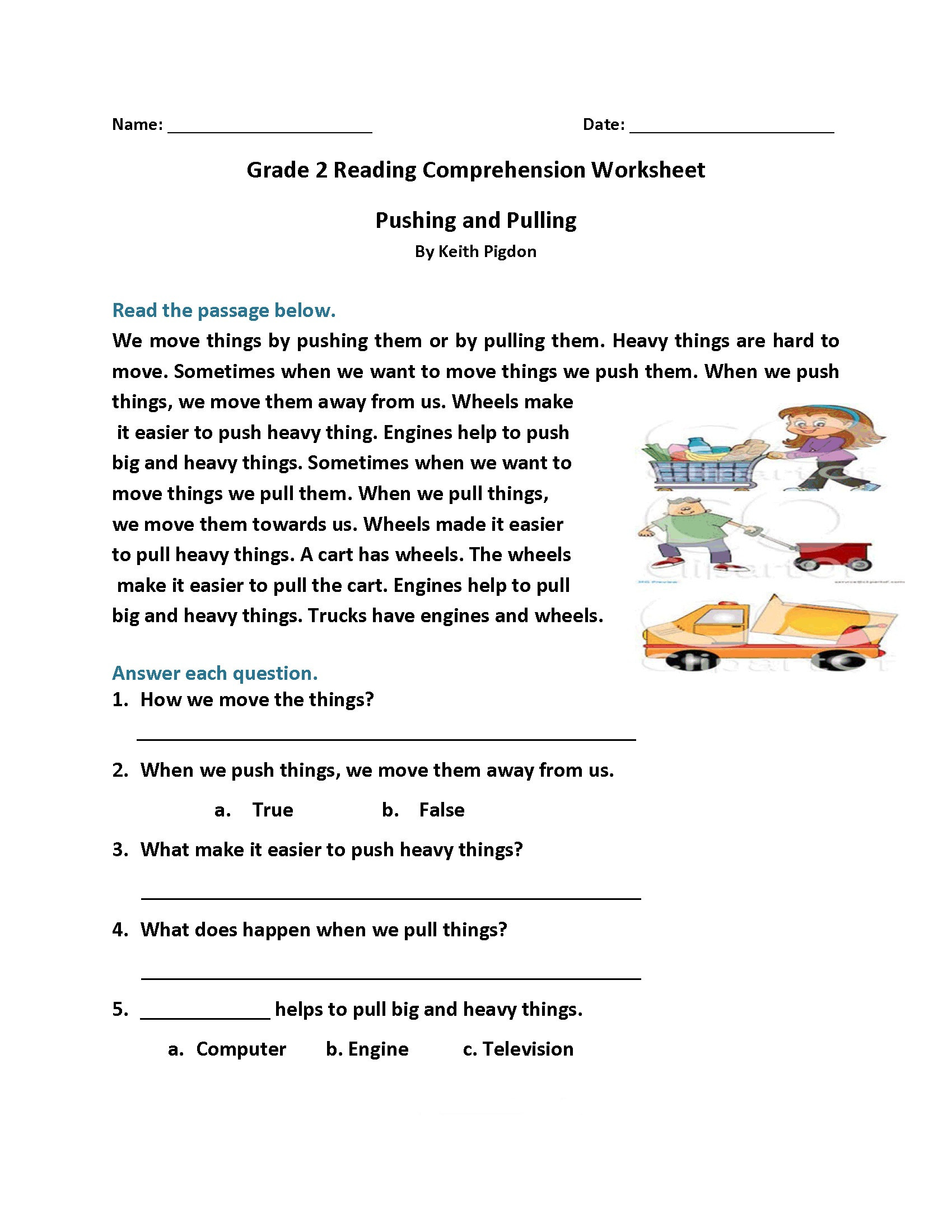 Free 2nd Grade Comprehension Worksheets Math Worksheet 2nd Gradeading Worksheets Best Coloring