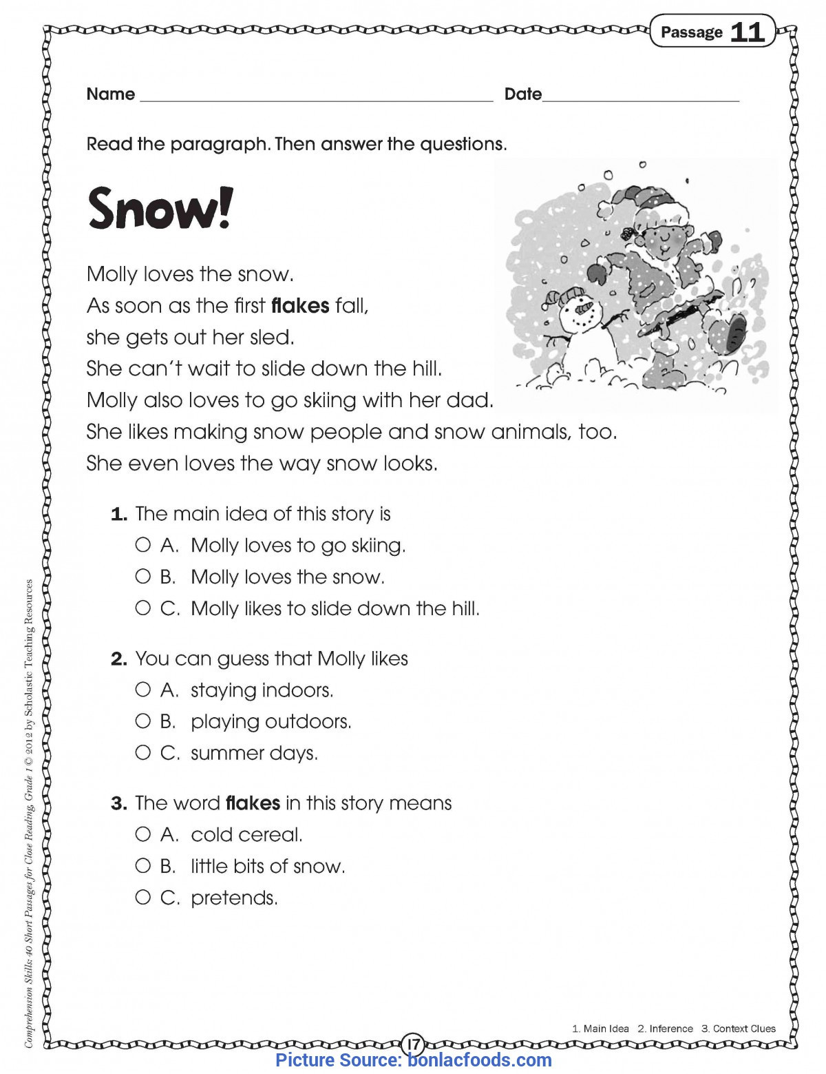 Free 2nd Grade Comprehension Worksheets Math Worksheet Math Worksheet Free Reading Prehension