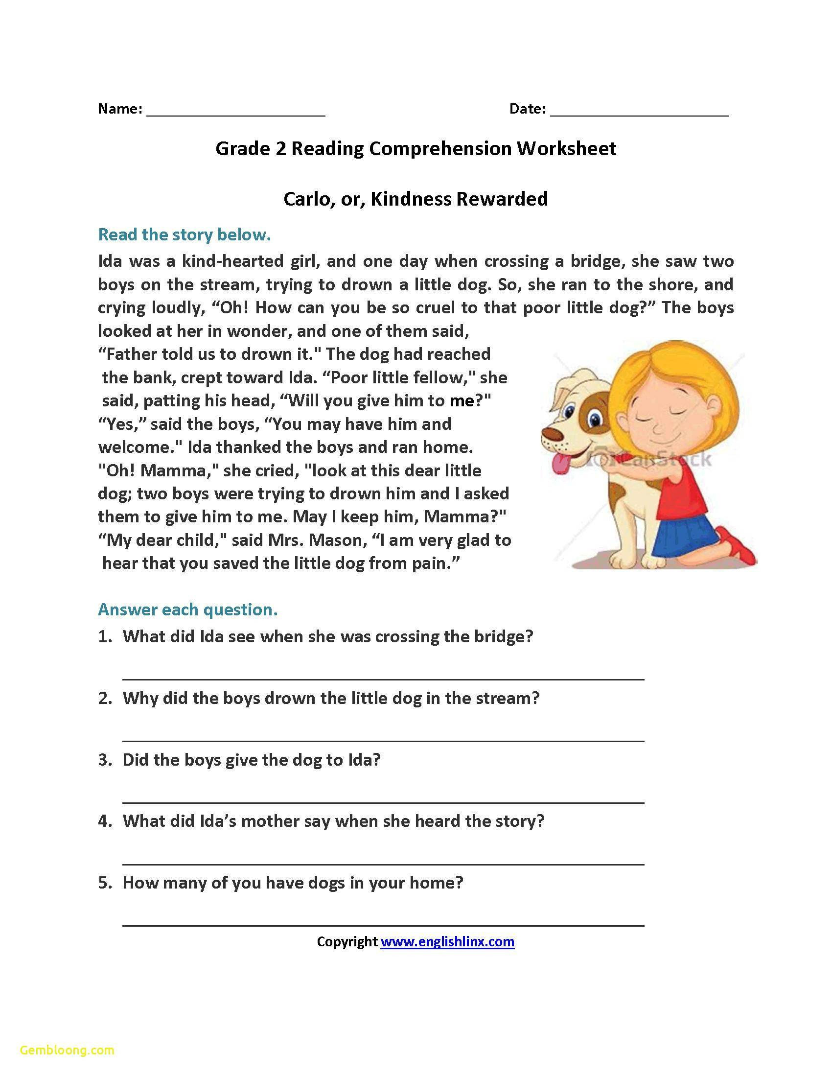 Free 2nd Grade Comprehension Worksheets Math Worksheet Year 1 Reading Prehension Worksheets