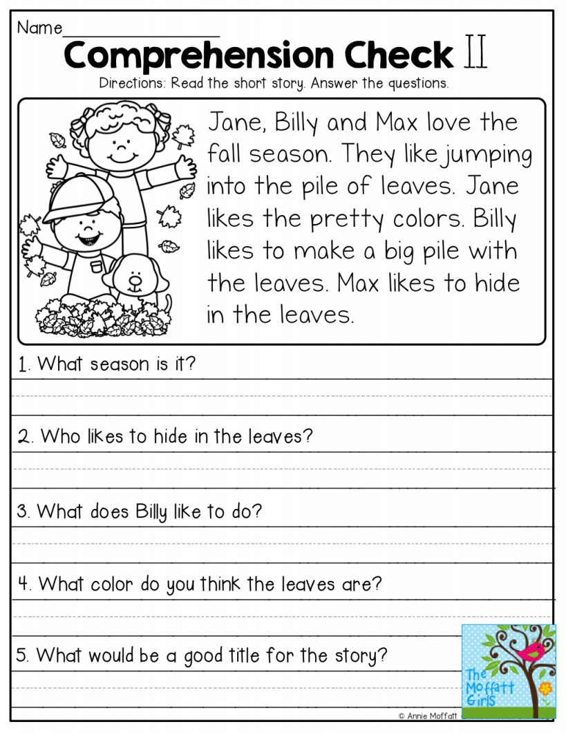 Free 2nd Grade Comprehension Worksheets Worksheet Worksheet Ideas Reading Worksheets Second Grade
