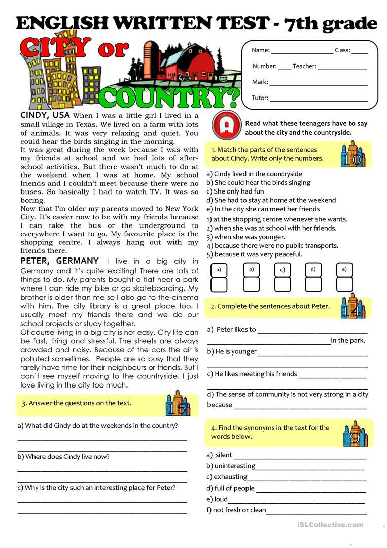 Free 7th Grade Reading Worksheets City Vs Countrylife Test 7th Grade