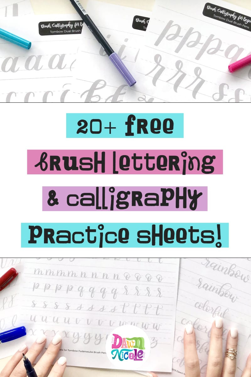 Free Calligraphy Worksheets Printable 20 Free Brush Lettering Practice Sheets