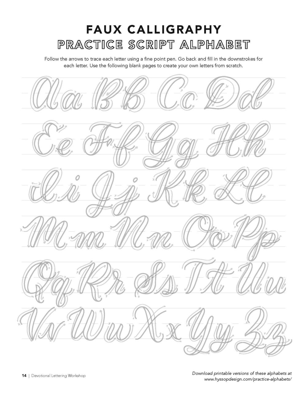 Free Calligraphy Worksheets Printable Free Calligraphy Alphabets — Jacy Corral