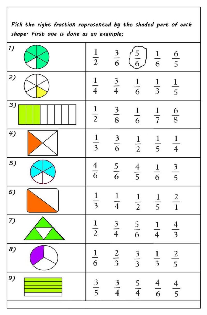 Free First Grade Fraction Worksheets Free Printable Fractions Worksheets for 2019