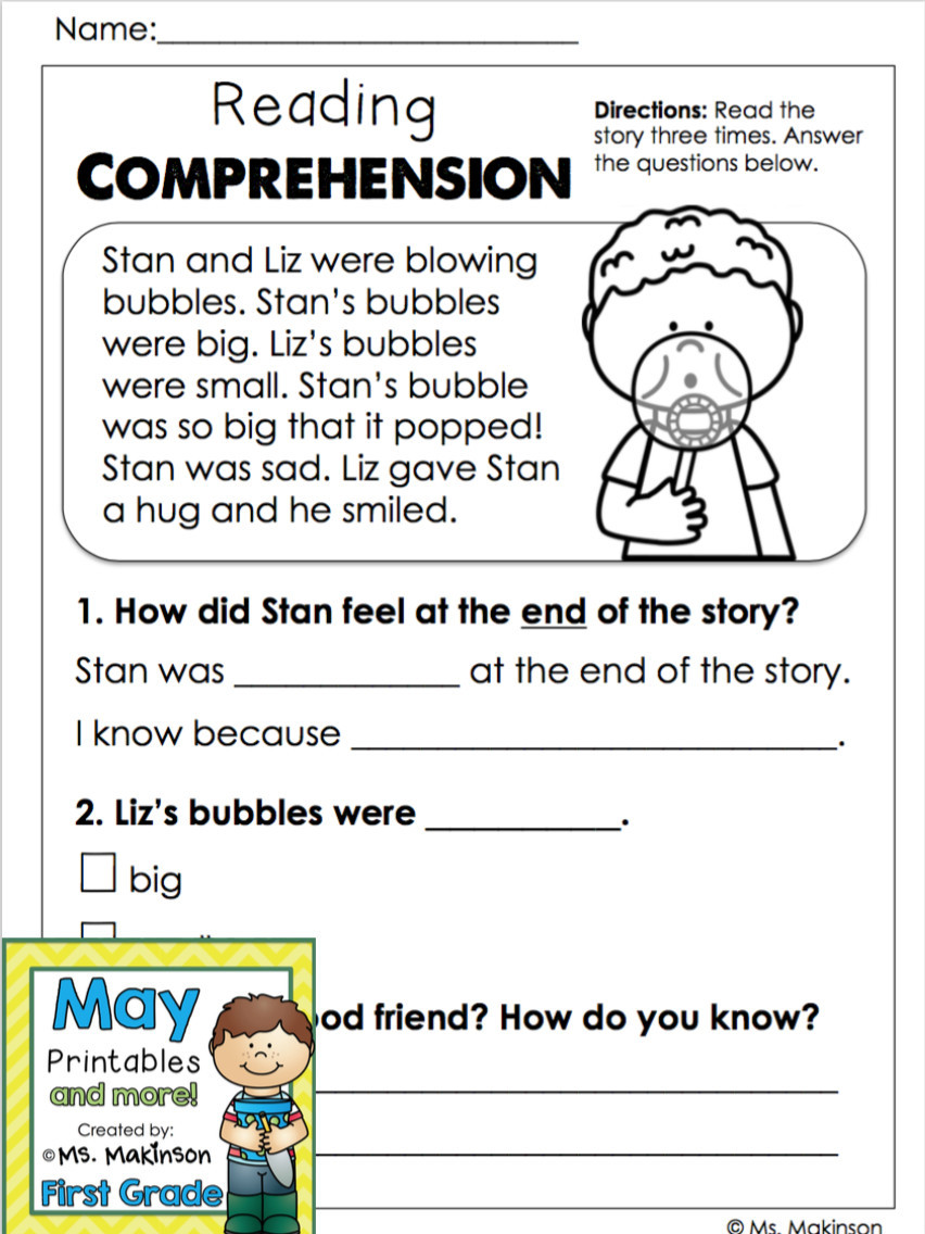 Free First Grade Reading Worksheets Reading Worksheets for Kindergarten Free Printable May