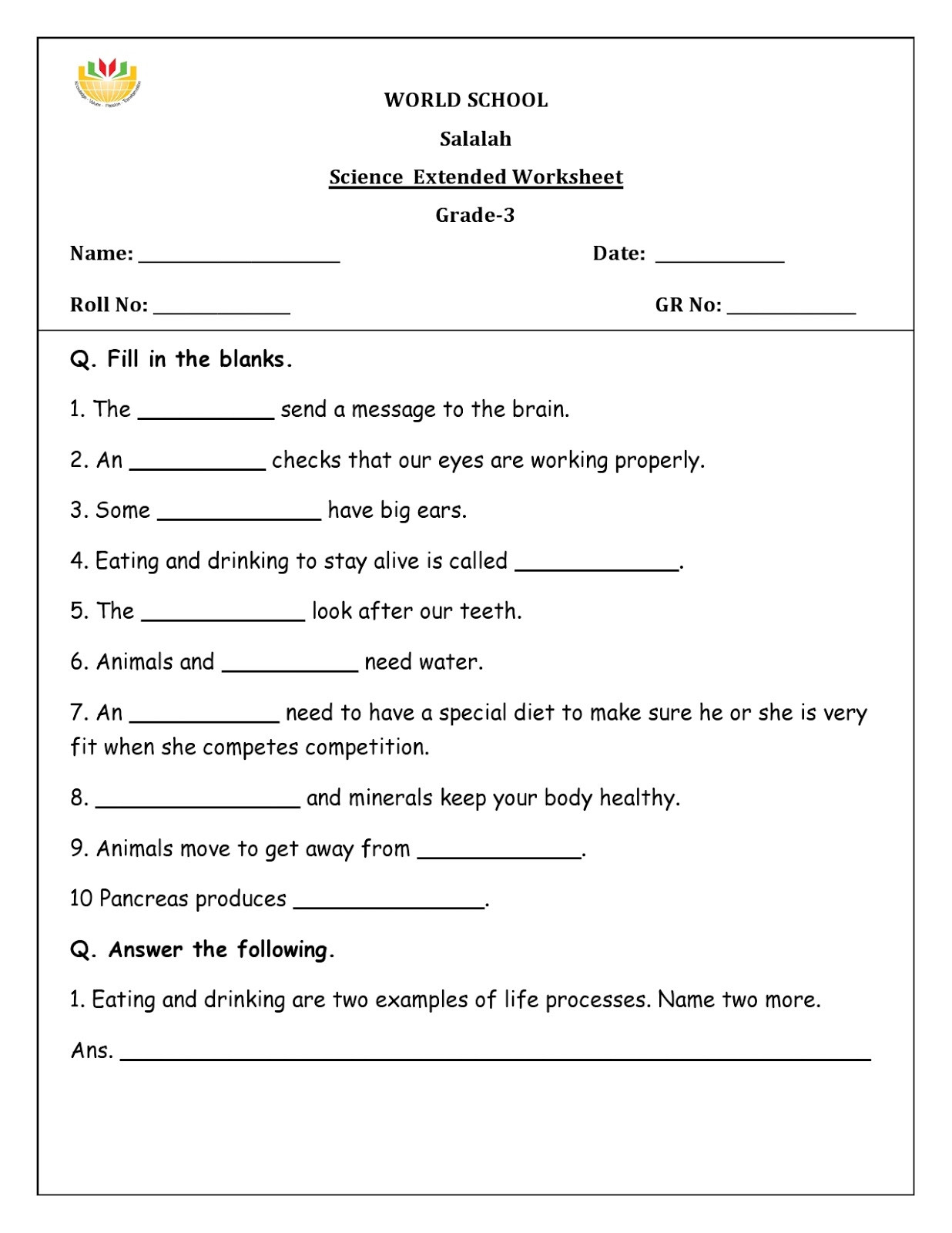 Free Fourth Grade Science Worksheets Science Worksheets for Grade 2 to Educations Science