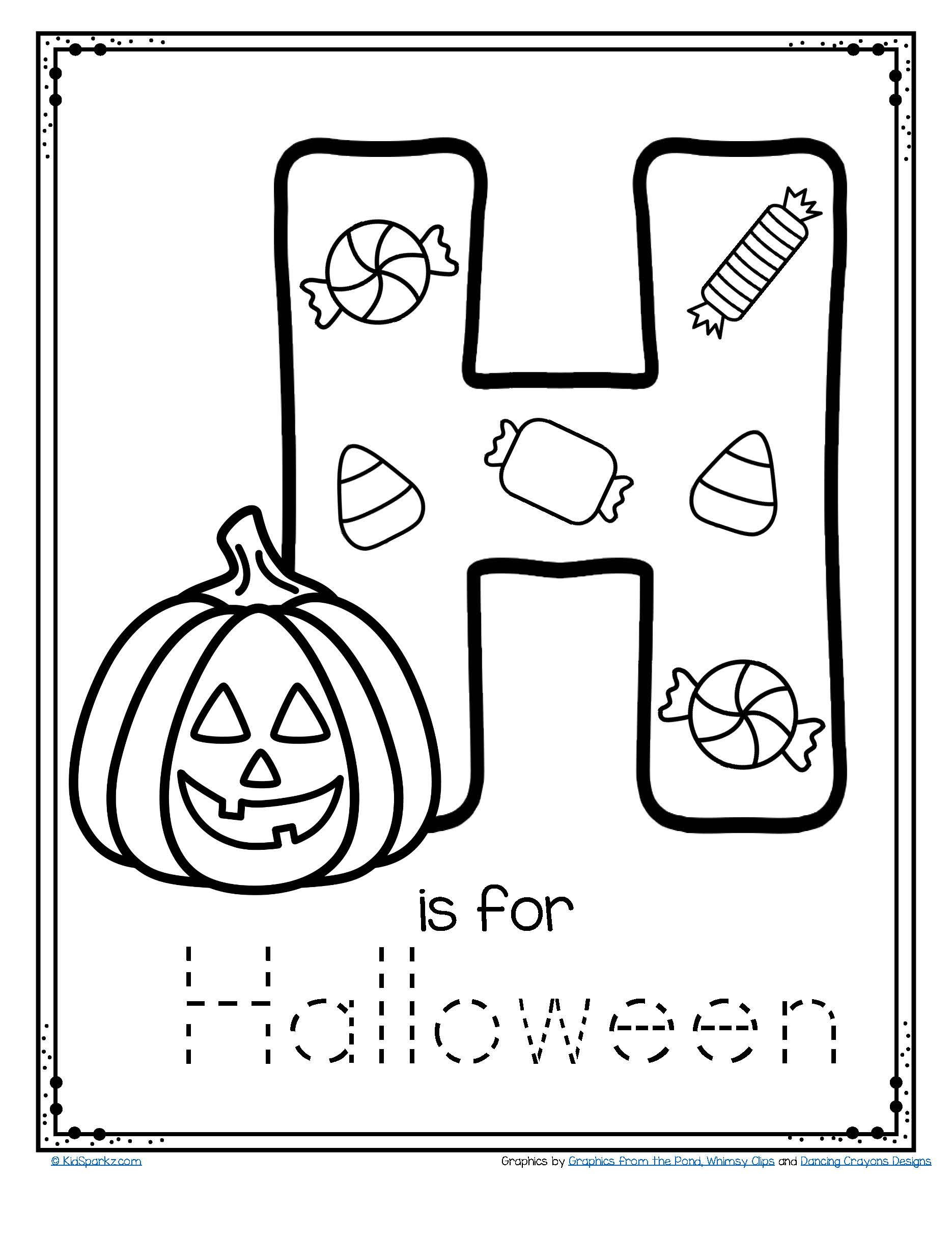 Free Kindergarten Halloween Worksheets Printable Letter H is for Halloween Trace and Color Printable Free