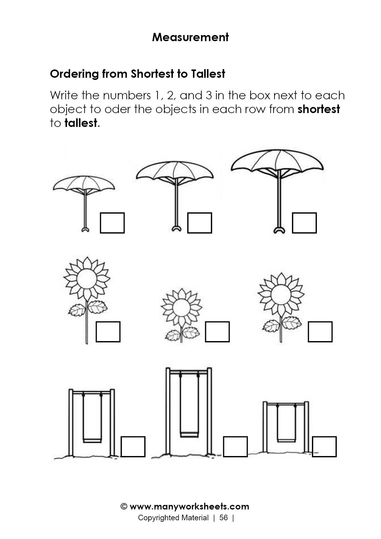 Free Measurement Worksheets Grade 1 Length Measurement Worksheet – ordering From Shortest to Tallest