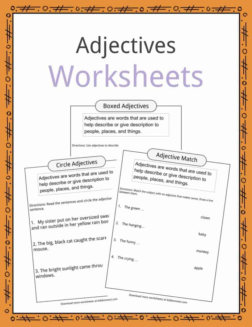Free Printable Adjective Worksheets Adjectives Definition Worksheets & Examples In Text for Kids