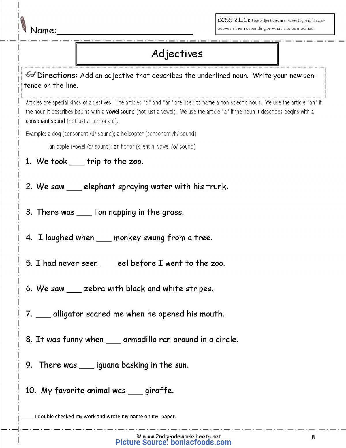 Free Printable Adjective Worksheets Valuable 2nd Grade Lesson Plans Adjectives Worksheets for