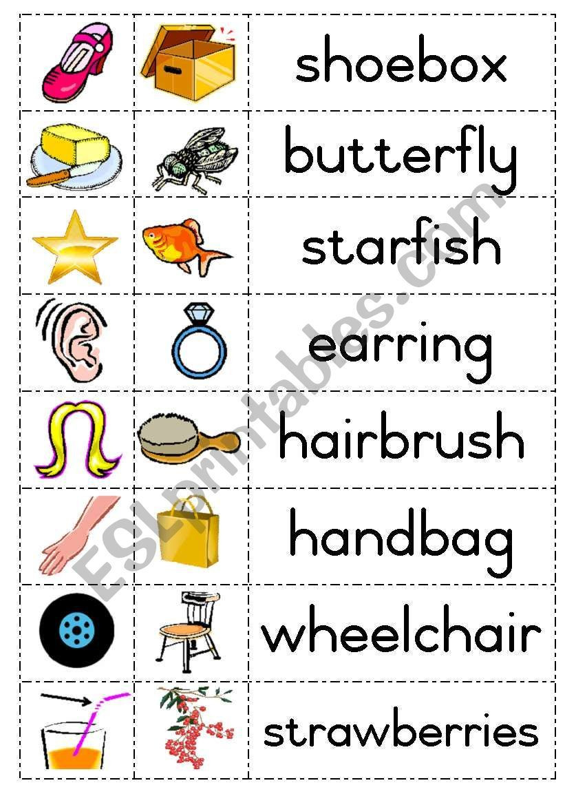 Free Printable Compound Word Worksheets Build Pound Words with Picture Cards Eg Shoe Box