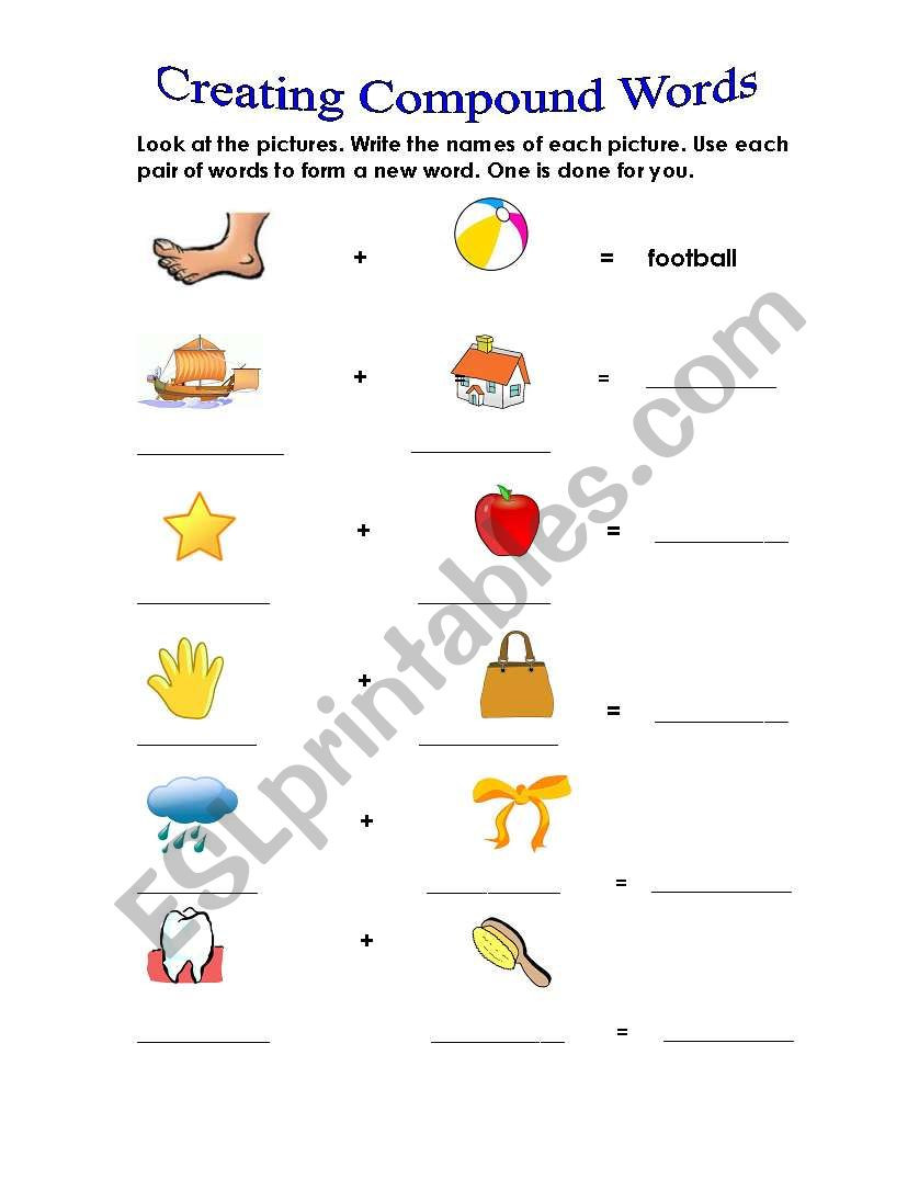 Free Printable Compound Word Worksheets Pound Words Esl Worksheet by Angie1970